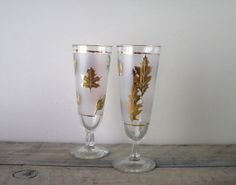 Vintage Libbey Golden Folage Pilsner Glasses Set of by 22BayRoad, $10.00