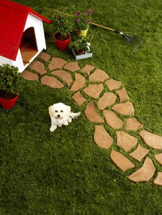 How to Make a Garden Path.   You'll Need:  safety goggles • gloves • rope or garden hoses • 1 cobblestone mold (we used Pathmate Cobblestone mold, $35; shophometrends.com) • shovel • sand • concrete (1 (80-lb) bag fills 1½ molds) • 3x5-foot plastic tray • concrete colorant (optional) • plywood • trowel • concrete float
