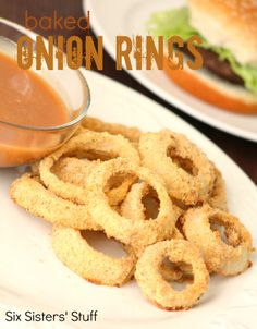 Low Fat Baked Onion Rings from sixsistersstuff.com.  Same great taste, but with a lot less guilt! #lowfat #recipes #appetizers