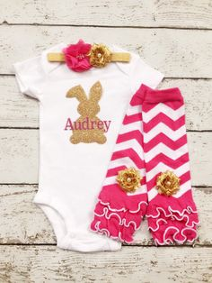Easter Pink Bow Bunny White Bodysuit Rainbow Chevron Baby Dress Leg Warmer 0-18m Clothing, Shoes & Accessories
