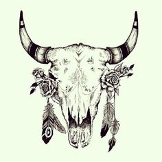 8ed435652 A great tattoo of a bull skull with feathers on horns and roses inside eye  sockets.