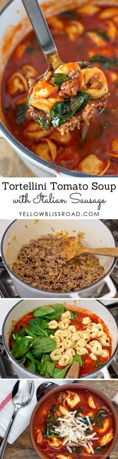 Tortellini Tomato and Spinach Soup with Italian Sausage. I actually made the Pioneer Woman's tomato soup from food network and added a lb. of Italian sausage and a package of tortellini. Crock Pot Recipes, New Recipes, Cooking Recipes, Healthy Recipes, Recipies, Quick Soup Recipes, Chicken Recipes, Recipes With Tomato Soup, Spinach Dinner Recipes