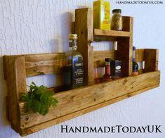 Handmade Rustic Industrial Shelf Kitchen Spice Rack Organiser Reclaimed Pallet