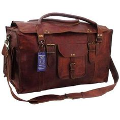 c7e5f8fc7b Men Vintage Genuine Leather Flap Duffel Carry On Weekender Travel Bag New