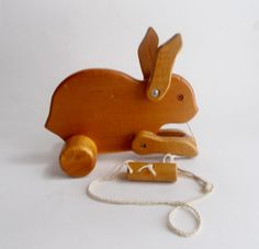 Vintage Wooden Bunny Pull Toy Hand Made by NanNasThings on Etsy