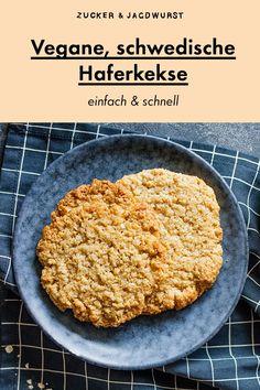 Vegane, schwedische Haferkekse - Zucker&Jagdwurst - recipes for vegan comfy food! Easy Baking Recipes, Easy Appetizer Recipes, Vegetarian Recipes Easy, Healthy Dessert Recipes, Healthy Snacks, Cheap Easy Meals, Easy Meals For Kids, Oatmeal Cookie Recipes, Oatmeal Cookies
