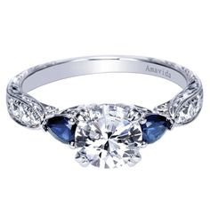 Gabriel & Co. Amavida Platinum Contemporary 3 Stone Engagement Ring with Sapphire Stones ER8773PT3SA   I love when rings have a bit of color to help hen stand out more