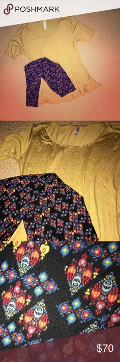 ✨LULAROE✨perfect Halloween one size [OS] leggings Soooo I went a little wild with how many Halloween outfits I purchased at a live sale.... I'm selling this one outfit - price is firm. This outfit is NEW ✨ tag will be sent with item but is unattached since I did try all of my outfits on! Mustard lularoe perfect T size small (recommended for size 8-14) and Halloween 👻 cute patterned monster leggings OS. Let me know if you have questions 😊 LuLaRoe Other