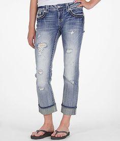 Miss Me Two-Tone Glitz Stretch Cropped Jean