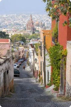 San Miguel de Allende -street led from our lodgings at Rafael's Quinta Lareto down to Jardine in center of town, among Cathedrals & Cantinas in apx. equal numbers.