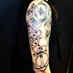 By Cam Davis at Berlin Tattoo; Kitchener, ON. Traditional, anchor, compass, roses, rope, ship's wheel, flowers, linework, arm, sleeve.