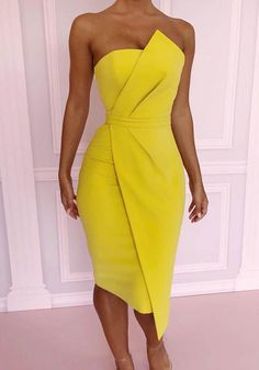 Sexy Party Dress Cocktail Dress Yellow Homecoming Dress The style destination for trendsetters worldwide! Fans covet the popular Lulus label, emerging designer mix, and favorite go-to brands! Trendy Dresses, Sexy Dresses, Beautiful Dresses, Evening Dresses, Casual Dresses, Short Dresses, Fashion Dresses, Elegant Dresses, Prom Dresses