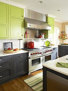 """Bright green cabinets pop creating a clean kitchen palette - Colorful Cabinetry Never thought of doing two colors ..."""" data-componentType=""""MODAL_PIN"""