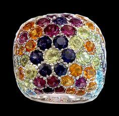 18Kt. White Gold Multi-Color Semi-Precious Stone Ring