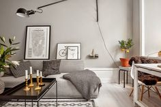 Beautiful shades of grey in this practical studio apartment in Sweden,