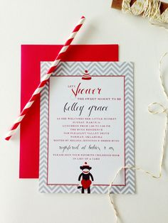 a sock monkey themed baby shower invitation |  m.press cards
