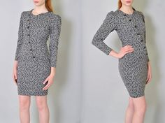 Vintage Bodycon Dress 80s Fitted Dress Grey Knit Abstract Mini Dress S M