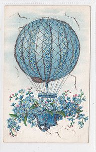 HOT AIR BALLOON Forget-me-not flowers anchor Postcard aviation