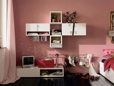 Fantastic Modern Furniture for Cool Youth Bedroom Design – Namic by Huelsta : Fantastic Modern Furniture For Cool Youth Bedroom Design – Namic By Huelsta With White TV Stand And Pink Wall Color And Wall Shelves Teenage Girl Bedroom Designs, Teen Room Designs, Cool Teen Bedrooms, Pink Bedroom For Girls, Pastel Bedroom, Girl Rooms, Bedroom Colors, Boy Room, Modern Bedroom