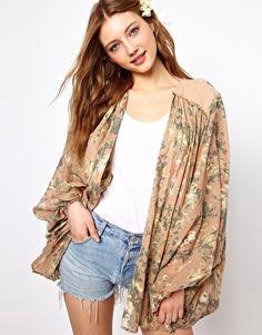 Image 1 ofWinter Kate Aurora Kimono with Suede Lattice Details