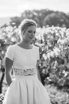 Romantic two piece lace wedding dress with pockets | Catherine Forge Photography