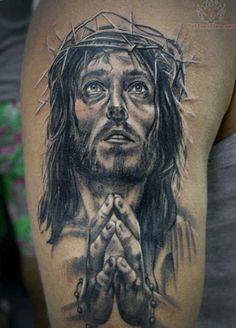 Jesus Praying Hands Tattoo