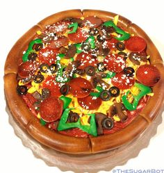 ReadyToUse Pizza Toppings edible fondant cake by TheSugarBot, $25.00