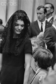 06 Jun 1968, Arlington, Virginia, USA --- Jacqueline Kennedy and her children, John Kennedy Jr. and Caroline Kennedy, attending the funeral of Senator Robert Kennedy who was assassinated on June 5, 1968
