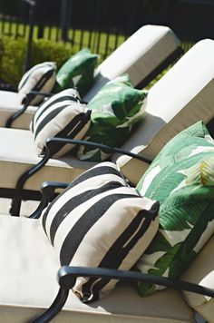 Banana leaf pillow, black and white lumbar pillows from ballard on ballard chaises ( THIS PATTERN FOR wedding party! Design Tropical, Tropical Patio, Tropical Decor, Adirondack Furniture, Garden Furniture, Furniture Sets, Tropical Furniture, Outdoor Furniture, Furniture Online