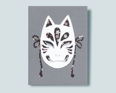 Kitsune Mask Paper Collage Silver Paper, Metallic Paper, Kitsune Mask, Origami Paper, Lapel Pins, Collage, Unique Jewelry, Handmade Gifts, Accessories