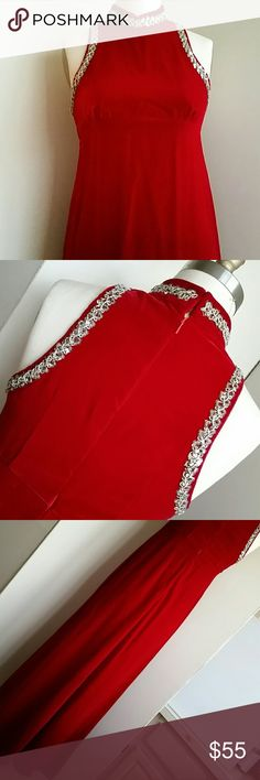 Vintage Hand Made Holiday Dress Red Velvet Size 4 to 6, needs steam pressing, very long, beading and sequins, invisable back zip, color blue/red, not as orange/red depicted. This is a simple and classic cut with a choker type neck, princess seam below bust, a slight A line on body, and off to the party you go! Slight imperfections but not enough to call off the party?????? Ask for more if interested. Dresses Maxi
