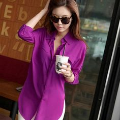 New Fashion Women Long Sleeve Chiffon Shirt Turn-down Collar Casual Loose Tops Blouse