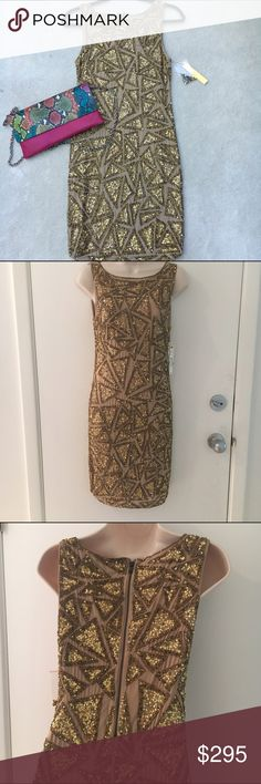 """🎉SALE🎉 NWT Alice + Olivia gold sequin dress I'm selling this on behalf of my sister in law, an extreme fashionista and mother of 2! Comes from a smoke-free, pet-free home. Offers are welcome through the offer button, and I would be happy to do a custom bundle for a bigger discount. No trades.  This is a NWT Alice + Olivia gold sequin dress in size 4. Retail MSRP $595.  Length: 36.5"""" Bust: 34"""" Waist: 26.5"""" Hips: 32"""" Sleeve length: sleeveless Alice + Olivia Dresses"""