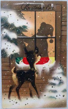 #22 50s Deer Watches Santa Through the Window, Vintage Christmas Card-Greeting