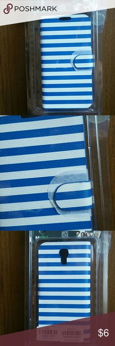 NWT SAMSUNG GALAXY S 4 WALLET CASE White with blue strips wallet case for your Samsung Galaxy S 4 Accessories Phone Cases