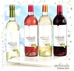 Refresh Turning Leaf: Crisp White, Red Moscato, Moscato, and Pink Moscato.