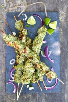 Hariyali Chicken Tikka: Enjoy the last days of summer grilling with these easy & succulent 'Green' herb-marinated Chicken Tikka Skewers!