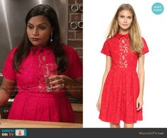 Mindy's red lace collared dress on The Mindy Project.  Outfit Details: https://wornontv.net/54498/ #TheMindyProject