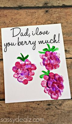 """I Love You Berry Much"" Fingerprint Raspberry Card - Great Father's Day Card Idea for the kids to make! fathers day day diy day food ideas day gifts from kid day cake day crafts Daycare Crafts, Toddler Crafts, Preschool Crafts, Crafts For Kids, Diy Father's Day Gifts, Father's Day Diy, Craft Gifts, Birthday Present Dad, Grandpa Birthday Gifts"