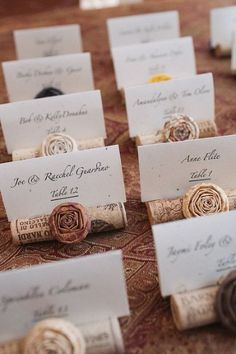 Take a look at our pick of 40 DIY wedding place cards. Find unique wedding name cards here, in order to get your guests to their tables. Wine Cork Wedding, Diy Wedding, Trendy Wedding, Wedding Ideas, Plum Wedding, Dream Wedding, Wedding Colors, Wedding Name Cards, Wedding Wishes