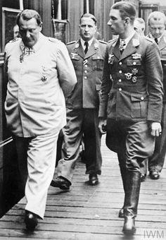 Luftwaffe ace Oberstleutnant Werner Molders talking with Field Marschal Hermann Goering during the Battle of Britain, 1940.