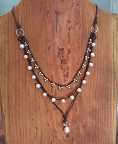 Spiaggia Gioielli Crochet collana di perle di fabflamingowraps
