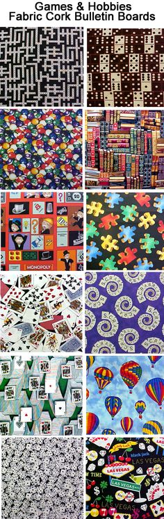FABRIC CORK BULLETIN BOARDS. Just an example of some fabrics available in GAMES & HOBBIES at www.PushPinsAndFabricCorkBoards.co to make a custom, unique BULLETIN BOARD to match your decor, as a gift to someone with a special interest in Games or a Hobby.  Boards are available in four standard sizes, with or without message ribbons and Top it off with matching or DECORATIVE PUSH PINS in the Decorative Push Pins department. #fabriccorkbulletinboards #fabriccorkbulletinboards #games #hobbies