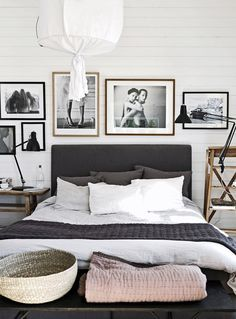 Scandinavian bedroom with gorgeous art by Pella Hedeby