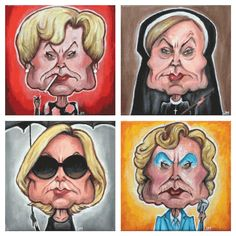 "- Inspired by Lange's characters in American Horror Story from Seasons 1-4 - Oil on Canvas - Set of 4 - Approximately 8"" x 8"" each - Signed Originals"
