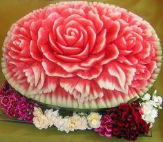 Rose carved on watermelon ~ watermelon art ~ fruit art