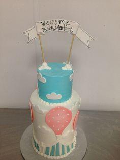 Hot air ballon baby shower cake . Sweet Layers Cakes & Pastties , Murrieta . Ca