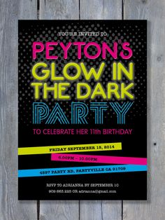 "GLOW in the DARK Party Invitation for Birthday - Slumber Party - Personalized - 7""x5"" - Print Your Own - DIY on Etsy, $14.50"