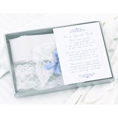 34.95$  Watch now - http://vifgp.justgood.pw/vig/item.php?t=gvcc07858306 - Bride's Hanky Featuring White Lace and a Blue Satin Bow 34.95$