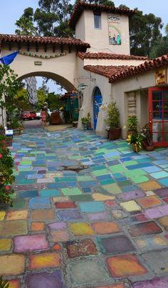 Colorful handmade tiles at Balboa Park's Spanish Village Art Center in San Diego, California.